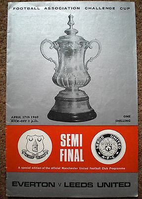 EVERTON v LEEDS UNITED 1968 FA CUP SEMI FINAL Football Programme Manchester Utd