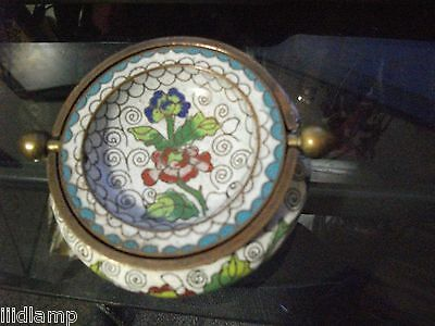 Antique Chinese Cloisonne Ashtray Marked China Flipping Lid Box Colorful Flowers