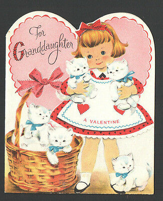 Vintage Valentines Day Card Cute Little Girl Basket & Arms Full White Kittens