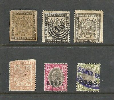 1870 QV/KEVII Early Rare Collection of 6 Stamps Used Some Overprints TRANSVAAL