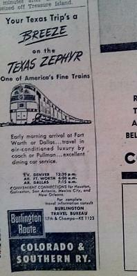 May 7, 1951 Newspaper Page #s4036- Texas Zephyr One Of America's Finest Trains