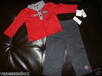 Boys Baby Calvin Klein 2 pc Pants Set Outfit Red Sz 12M NWT