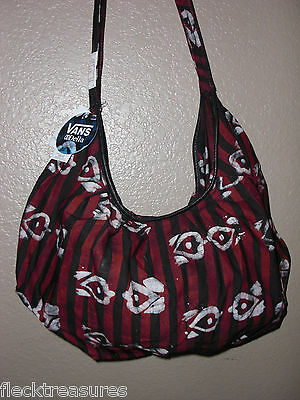 Women's VANS Red Black & White Cotton purse Shoulder bag beach tote New