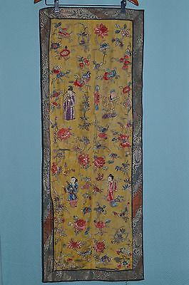 19th century Chinese IMMORTAL  SILK NEEDLEPOINT PANEL EMBROIDERY