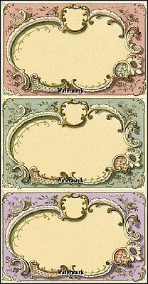 Set of 18 VINTAGE LOOK BLANK SCROLL LABELS VICTORIAN  / Tea stained Primitive