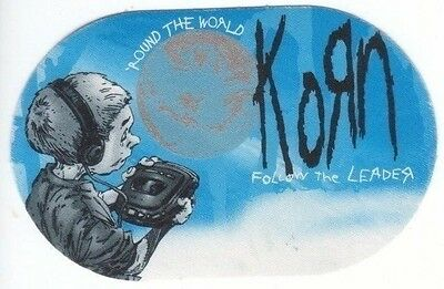 KORN PASS backstage tour satin cloth FOLLOW THE LEADER collectible oval