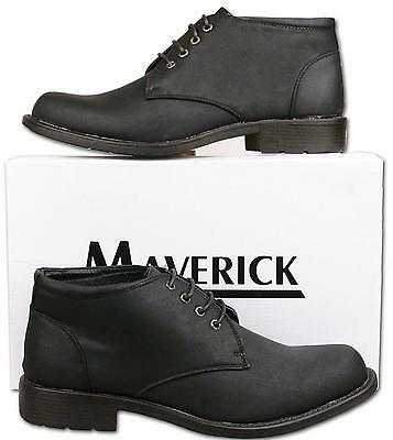 Mens New Black Lace Up Fashion Ankle Boots UK Size 9