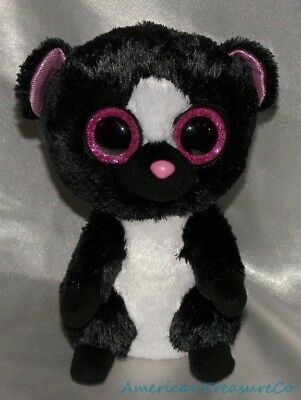 7d3e9cbada5 2015 Ty Beanie Babies Boos Plush Jet Black Flora The Skunk Hot Pink Glitter  Eyes