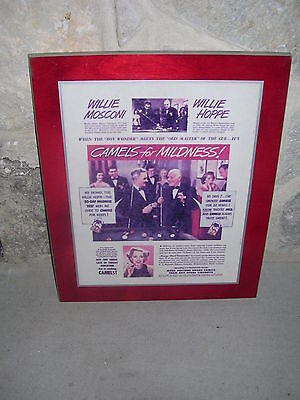 Willie Mosconi & Willie Hoppe Camels for Mildness 1949 Plaque - Extremely Rare