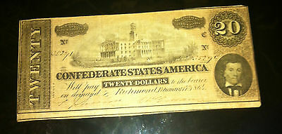HISTORIC&AWESOME  TYPE 67-1864- CHOICE CRISP Confed. States Of America $20 NOTE