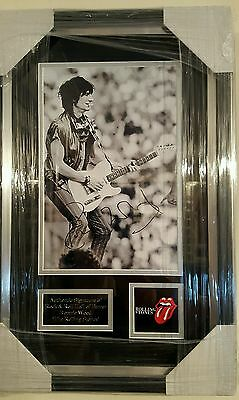 Ronnie Wood Signed Rolling Stones Mounted & Framed Photo With Coa