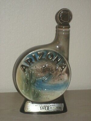 Vintage 1968 Beam's ARIZONA 4-5th Quart Decanter China Bottle 86 Proof Original