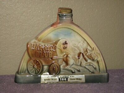 Vintage 1969 Beam HAROLDS CLUB 4-5th Quart Decanter Bottle Brown Wagon