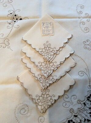Vtg Portugal~Madeira?~Hand Embroidery On Linen Cut Work Tablecloth & Napkins~NOS