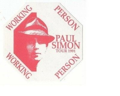 PAUL SIMON PASS backstage tour satin cloth WORKING PERSON 91 red