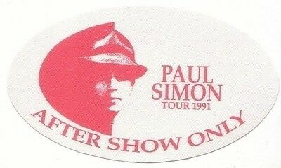 PAUL SIMON PASS backstage tour satin cloth AFTER SHOW 91 collectible RED