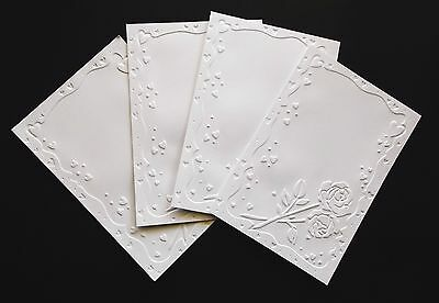 White Valentine'S Embossed Hearts & Roses Card Making Toppers Layers X 4