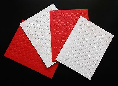 Red & White Valentine'S Embossed Heart Card Making Toppers Layers X 4