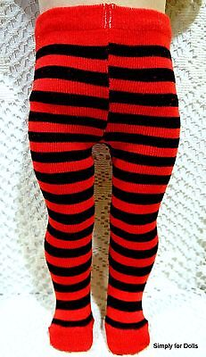 """RED & BLACK Striped DOLL TIGHTS STOCKINGS fit 18"""" AMERICAN GIRL Doll Clothes"""