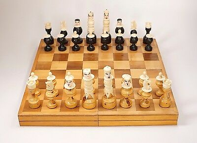 Vtg Hand Carved Painted Bone & Wood Chess Pieces + Bonus Inlaid Box Board AS IS