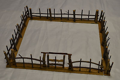 "Toy Wood Fence From Sticks PreWar Germany 17"" X 17"" x 3 3/4"" High Near Mint"
