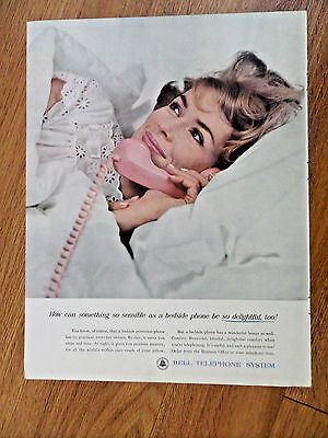 1962 Bell Telephone Ad   Bedside Phone