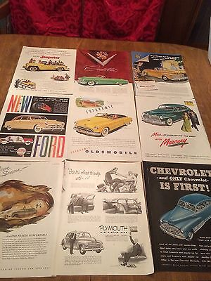Vintage 40s Auto Cars Ads Ford Frazier Cadillac Jeep etc