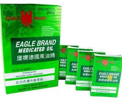12 X EAGLE BRAND MEDICATED OIL 24ML PAIN RELIEF SINGAPORE Brand New