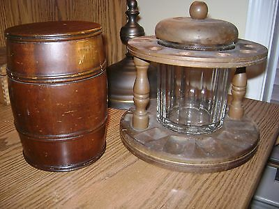 2 Vintage Humidors Wood Barrel And Glass Jar Humidor With 10 Pipe Holder Stand