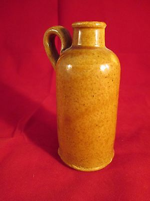 """Antique Ink Well Bottle Stoneware Glazed Pottery 3.5"""" Tall Unmarked"""