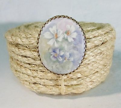 Vintage porcelain stone floral cameo brooch pin hand painted Victorian