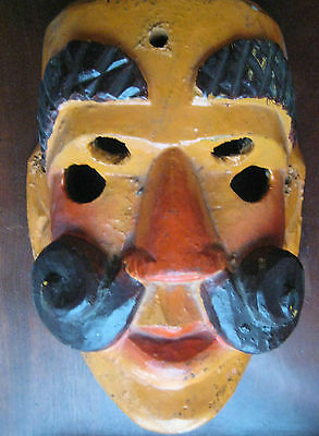 Rare Guatemalan Dance Mask  Vintage Authentic Wooden Mask