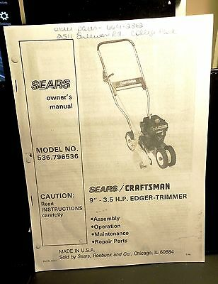 Owners Instruction Manual #62917 @ Sears Briggs & Stratton Lawn Edger #536-79636