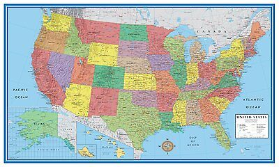 Laminated USA Wall Map United States US 24x36 Poster Decorator School Home Kit