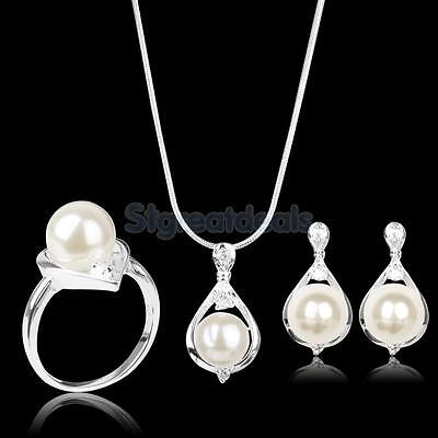 Silver Plated Water Drop Pearl Pendant Necklace Earrings Ring Jewelry Set Bridal
