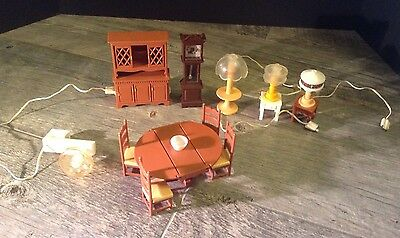 Vintage Fisher Price Doll Furniture 1970's Dining Hutch Set With Outlet & Lights