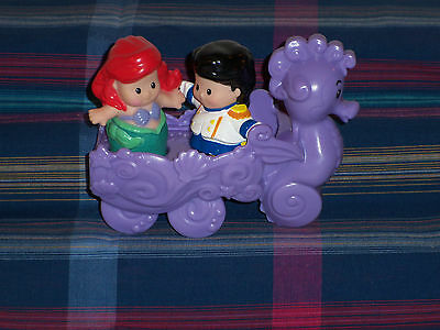 Fisher Price Little People Disney Princess Ariel Mermaid Eric Seahorse Carriage