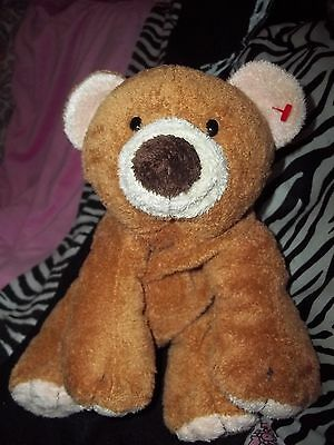 "TY Beanie babies Pluffies 10"" SLUMBERS Brown Teddy Bear Lovey Plush Security toy"