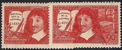 France 1937 90c Descartes Both Types MH