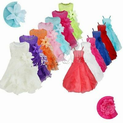 Flower Girl Birthday Party Princess Wedding Bridesmaid Pageant Formal Tutu Dress