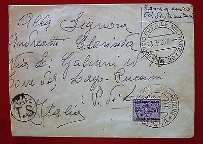 Italy/Albania 1940  Military Postage P.M. 99 Taxed Cover with 50 c.revenue stamp