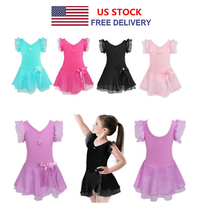 Girls Gymnastics Leotard Dress Kid Ballet Dance Tutu Skirt Dancewear Costume New