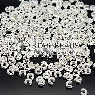 500 X 3.5Mm Silver / Gold Plated Round Crimp Covers For Jewellery Making