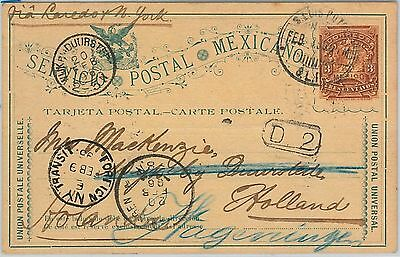 58632  -  MEXICO  - POSTAL HISTORY:  STATIONERY CARD to NETHERLANDS 1896 - DOGS