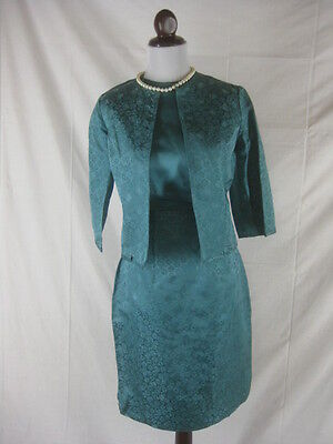 Vtg 50s 60s Nat Allen Vintage Teal Turquoise Silk Rayon 3pc Top Skirt Jacket Set
