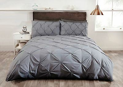 Pintuck Bedding Duvet Quilt Cover Set Single Double King Super King  Grey