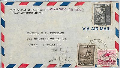 58616  -  HAITI - POSTAL HISTORY: COVER to ITALY - 1955 - HELICOPTER