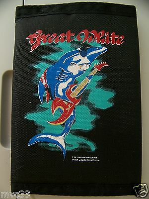 NEW NOS Vintage 80s GREAT WHITE Music Band Tri Fold Billfold Money Wallet Velcro