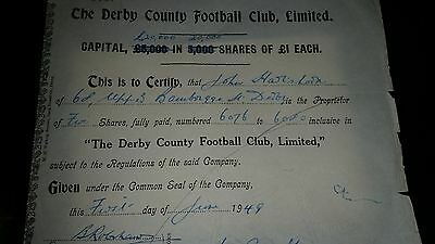 Derby County share certificate 1948