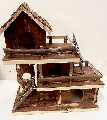 """Trixie Natural Wood 3 Storey House For Hamsters & Mice Approx 10"""" x 11"""""""